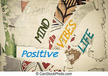 vida, positivo, -, vibraciones, mente, inspirador, mensaje
