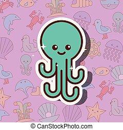 vida, pulpo, caricatura, mar