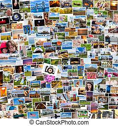 vida, relação, pessoas, colagem, fotografias, 1x1