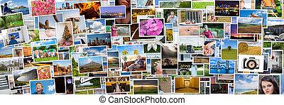 vida, relação, pessoas, colagem, fotografias, 3x1