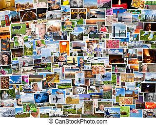 vida, relação, pessoas, colagem, fotografias, 4x3