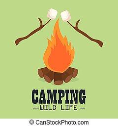 vida salvaje, campfire, campamento