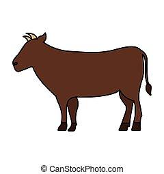 vida salvaje, caricatura, vaca, animal