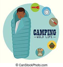 vida salvaje, concepto, campamento