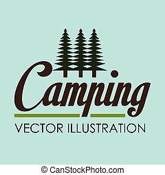 vida salvaje, escena, campamento, bosque