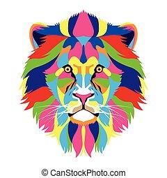 vida, salvaje, icono, technicolor, león