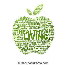 vida sana, manzana, ilustración