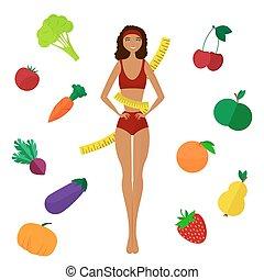 vida, sano, de piel oscura, esbelto, slimming, girl., diet.