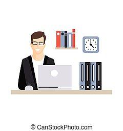 vida, seu, trabalhando escritório, laptop, personagem, jovem, ilustração, local trabalho, vetorial, diariamente, empregado, homem negócios
