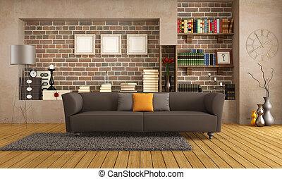 vida, sitio moderno, sofá, vendimia