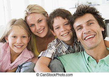 vida, sonriente, habitación, familia