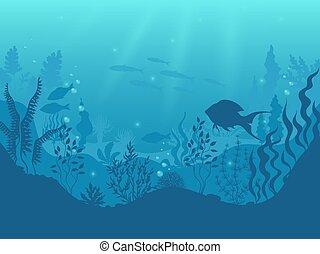 vida subaquática, silueta, peixe, fundo, coral, aqua, oceânicos, scene., experiência., vetorial, mar, submarino, caricatura, marinho, algas, recife