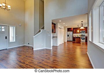 vida, techo, habitación, alto, conectado, espacioso, abovedado, cocina