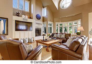 vida, techo, habitación, sofá de cuero, set., grande, alto, diseño, interior, abovedado