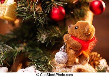 vida, teddy, árbol, oso, decorar, todavía, navidad