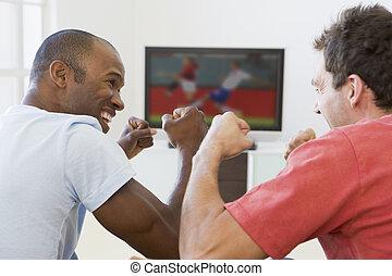 vida, televisión, habitación, mirar, hombres, dos, aplausos
