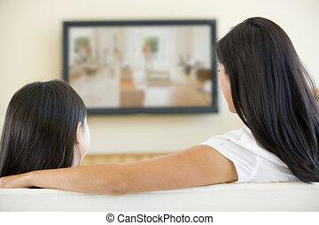 vida, televisión, mujer, habitación, pantalla plana, niña ...