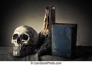 vida, todavía, cráneo