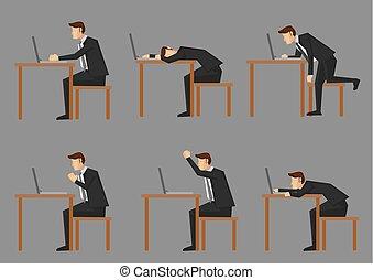 vida, trabajador, oficina, cuello blanco