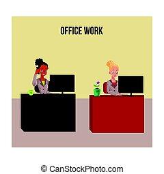 vida, trabalhando escritório, cartaz, pretas, branca, bandeira, mulheres negócios