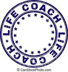 vida, treinador, grunge, selo, selo, textured, redondo