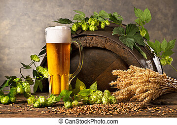 vida, trigo, salto, jarrade cerveza, todavía, conos