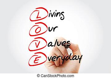 vida, valores, diario, nuestro