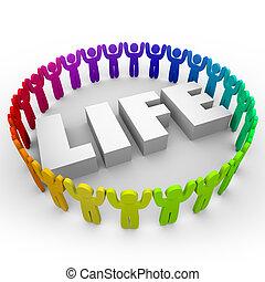 vida, vida, palabra, gente, paz, juntos, diverso, armonía