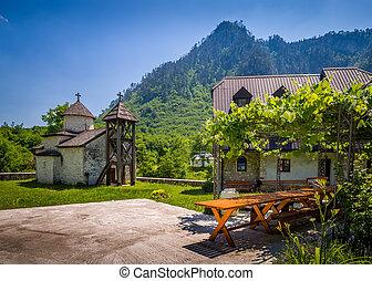 vida, viejo, casa, monasterio, dobrilovina, capilla