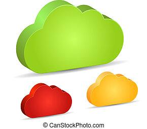 vide, 3d, nuages