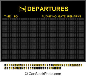 vide, aéroport international, départs, planche