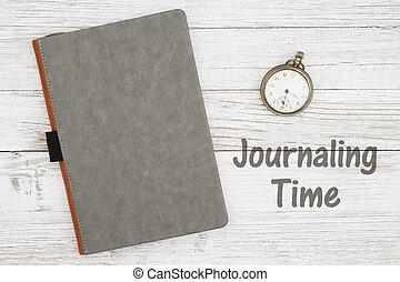 vide, a mûri, journal, montre, gris, temps, poche, fond, ...