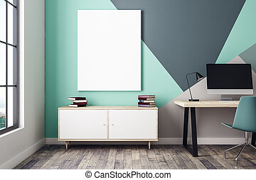vide, affiche, dans, intérieur, à, lieu travail