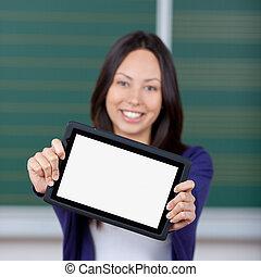 vide, afficher, étudiant féminin, tablet-pc