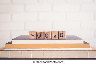 vide, arrière-plan., livres, mot, espace