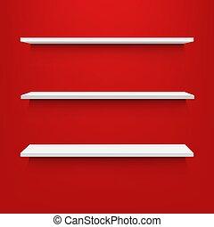 vide, arrière-plan rouge, étagères