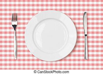 vide, assiette creuse, vue dessus, sur, rose, table...