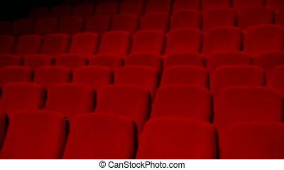 vide, auditorium, -, rouges, chaises, dans, rangées