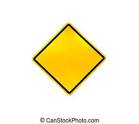 vide, avertissement, route jaune, signe