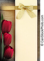 vide, bannière, et, rouges, tulipes, sur, vendange, fond