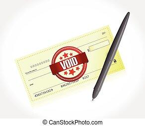 vide, banque, stylo, illustration, chèque