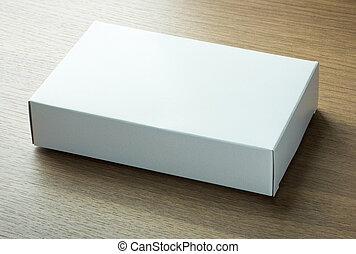vide, blanc, boîte papier, sur, sombre, bois, fond