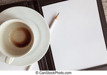 vide, blanc, cahier, crayon, et, vide, tasse à café