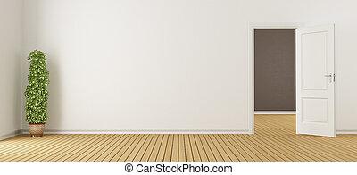 vide, blanc, intérieur, à, porte