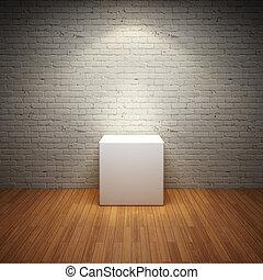 vide, blanc, stand, dans, vieux, intérieur, salle