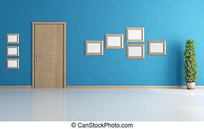 vide, bleu, intérieur