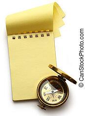 vide, bloc-notes, jaune, compas
