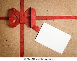 vide, boîte-cadeau, étiquette