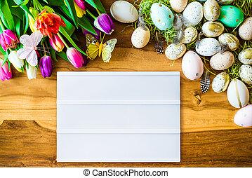 vide, boîte légère, à, gratuite, copyspace, et, paques, et, printemps, décorations, au-dessus