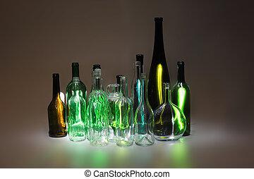 vide, bouteilles, verre